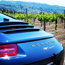 car and vineyard